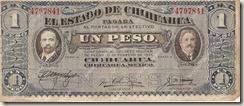 """Billete del Estado de Chihuahua, conocido como """"Dos Caritas"""" o """"Sabana de Villa"""""""