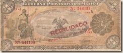 Billete del Gobierno Provisional de México emitido el 20 de Octubre de 1914.