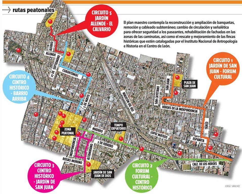 Las Futuras 5 Rutas Peatonales en León, Guanajuato