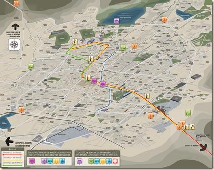 Mapa de la Ruta del Papa en León, Guanajuato