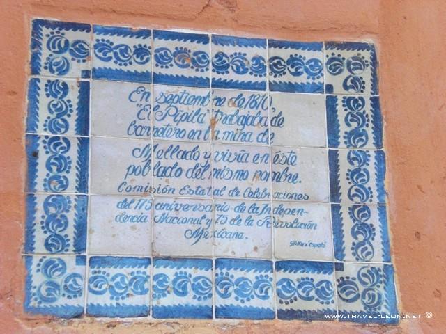 Placa de el Pipila en Guanajuato